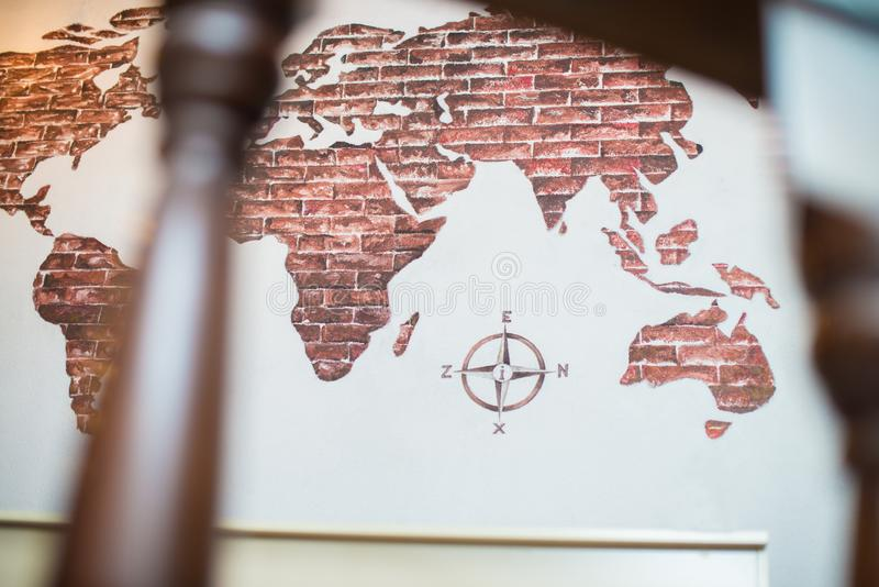 Översikt av världen, jordöversikt, översikt med compas arkivfoton