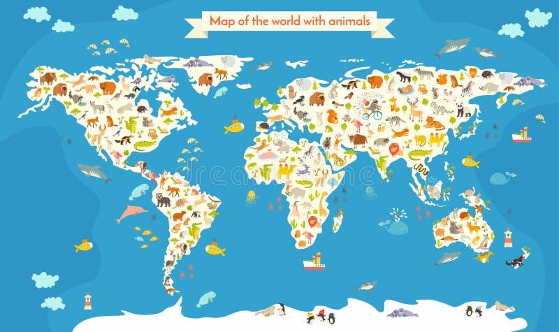 översikt av världen med djur Härlig färgrik vektorillustration royaltyfri illustrationer
