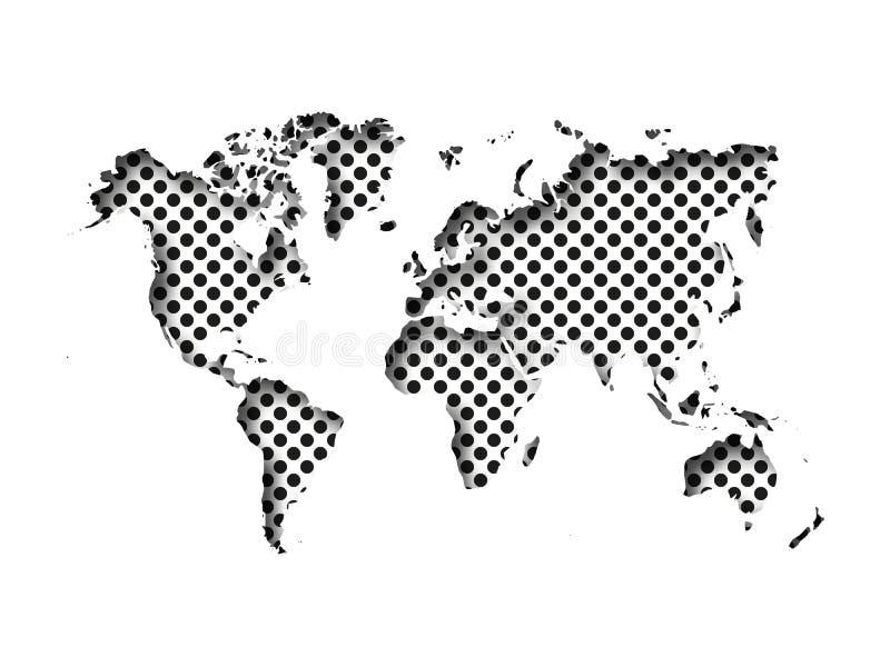 Översikt av världssnittet in i papper med inre skugga som isoleras på prickig bakgrund Vektorillustration med effekt 3D royaltyfri illustrationer