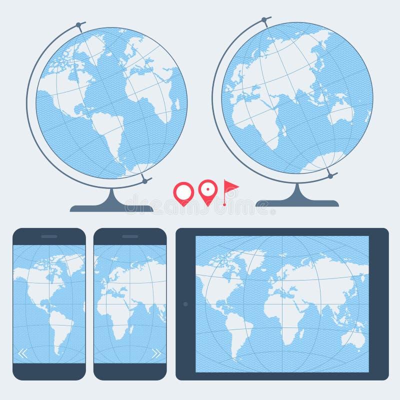 Översikt av världsuppsättningen Jordklot, mobiltelefon och digital minnestavla stock illustrationer