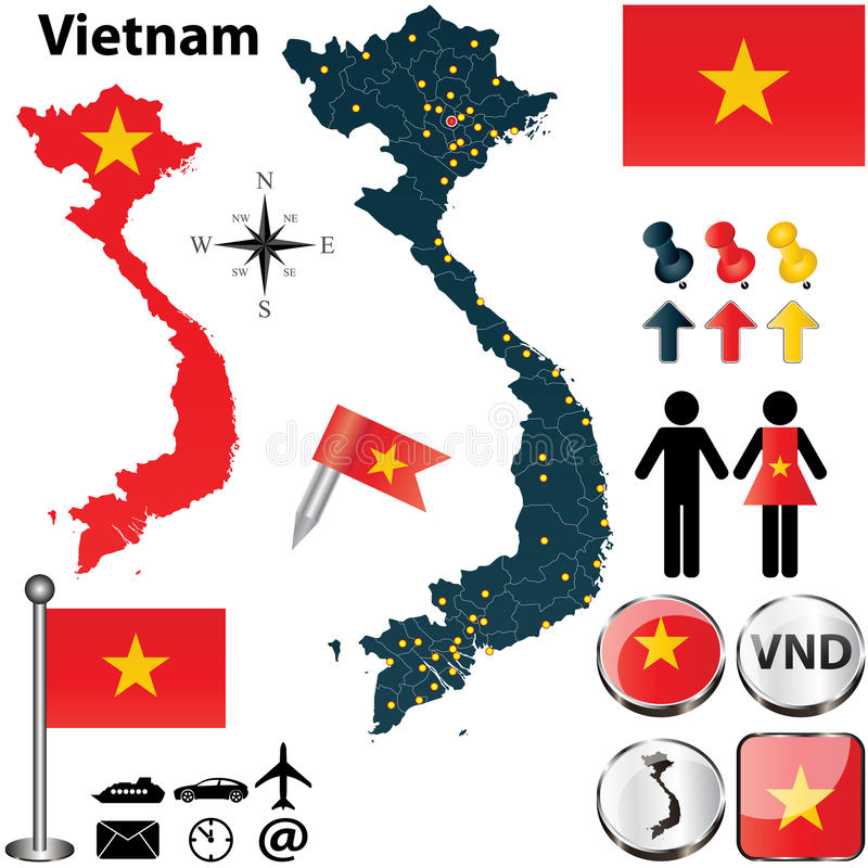 Översikt av Vietnam stock illustrationer