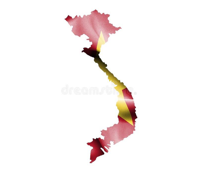 Översikt av Vietnam med den vinkande flaggan som isoleras på vit vektor illustrationer