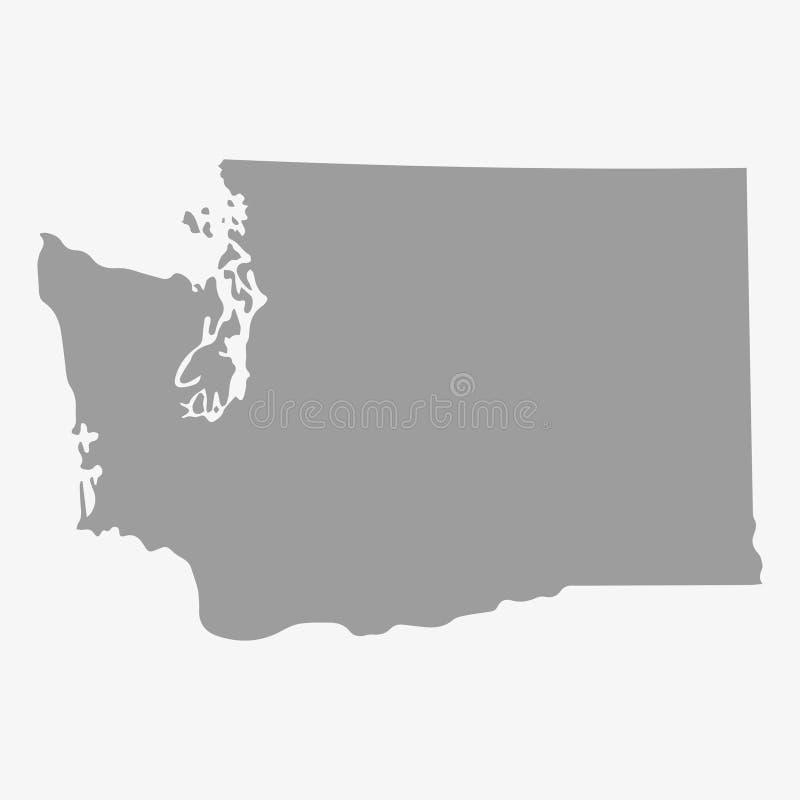 Översikt av Washington State i grå färger på en vit bakgrund royaltyfri illustrationer