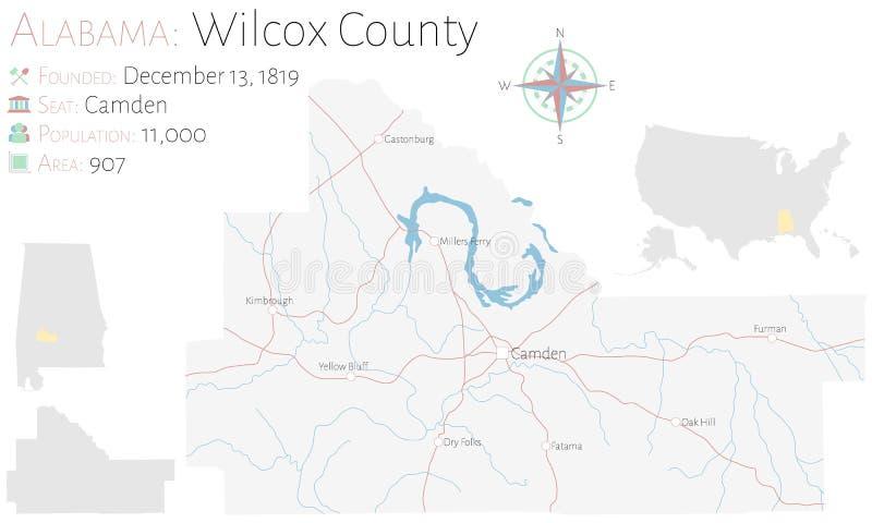?versikt av Wilcox County i Alabama vektor illustrationer