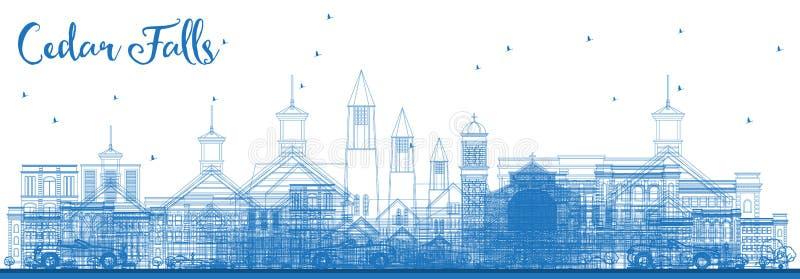 Översikt Cedar Falls Iowa Skyline med blåa byggnader vektor illustrationer