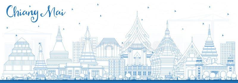 Översikt Chiang Mai Thailand City Skyline med blåa byggnader royaltyfri illustrationer