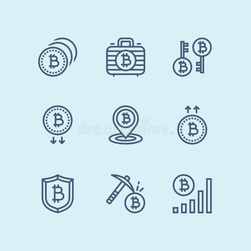 Översikt Cryptocurrency, blockchain, symboler för bryta digital pengarvektor för bitcoin enkla för rengöringsduk och mobil design royaltyfri illustrationer
