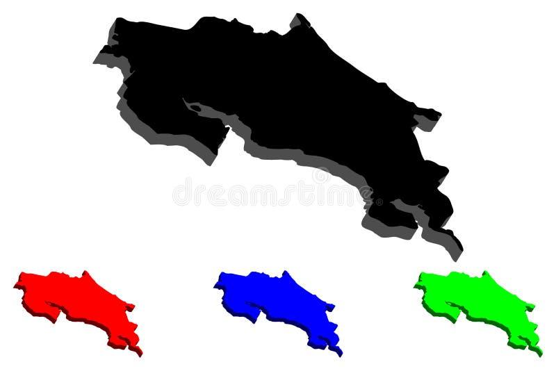 översikt 3D av Costa Rica vektor illustrationer