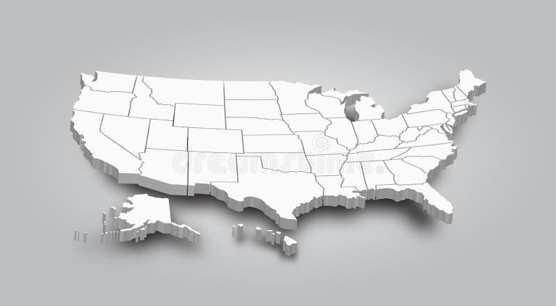 översikt 3D av den eniga staten av Amerika stock illustrationer