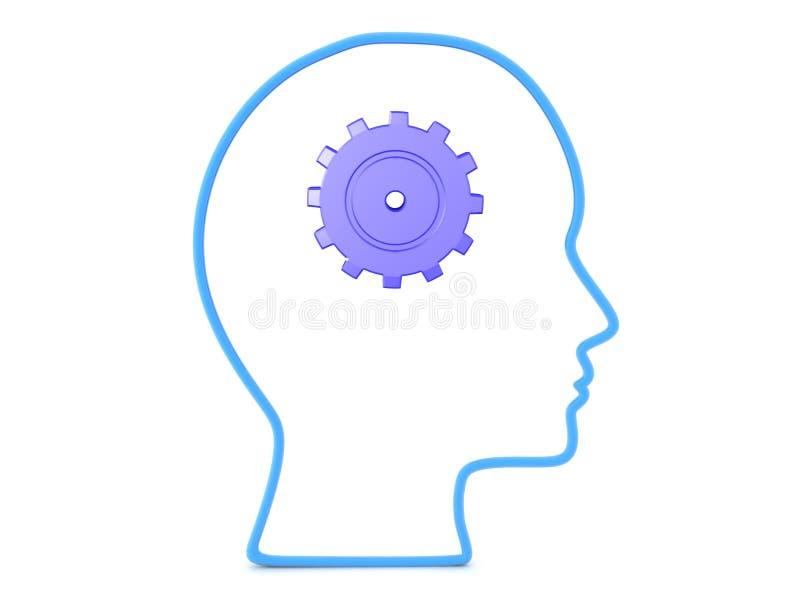 översikt 3D av huvudet med kugghjulet inom det royaltyfri illustrationer
