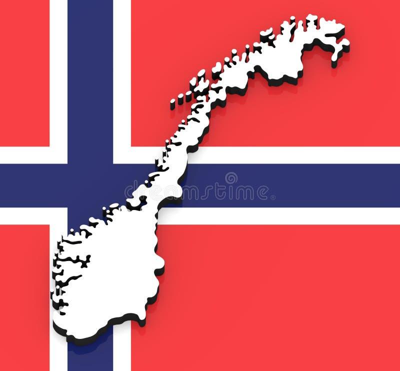 översikt 3D av Norge på nationsflaggan stock illustrationer