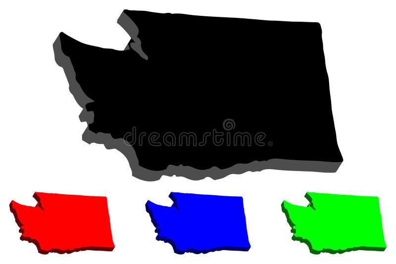 översikt 3D av staten Washington royaltyfri illustrationer