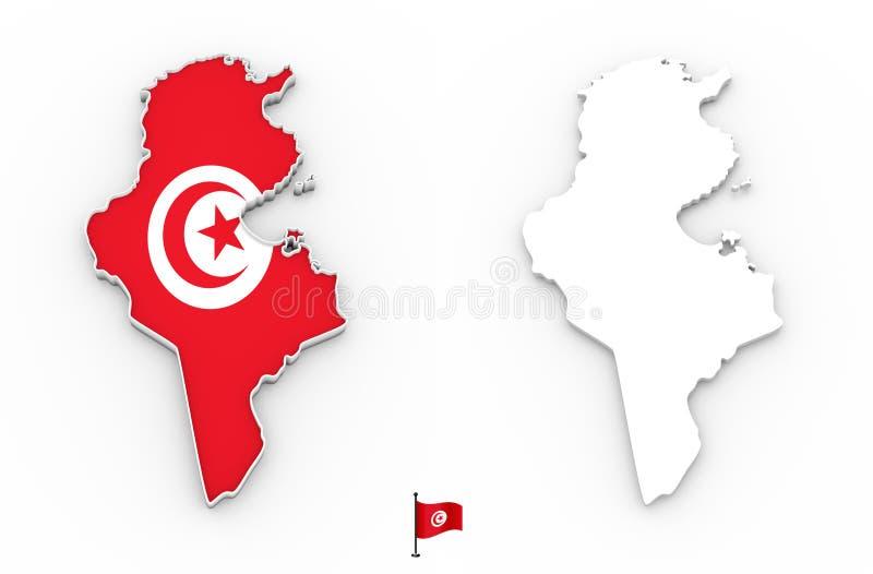 översikt 3D av Tunisien den vita konturn och flaggan vektor illustrationer