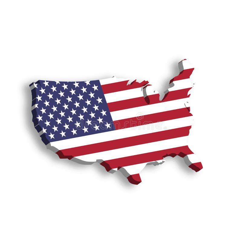 översikt 3D av USA, aka Amerikas förenta stater, i en form av USA-översikten Vektorillustration med tappad skugga på royaltyfri illustrationer