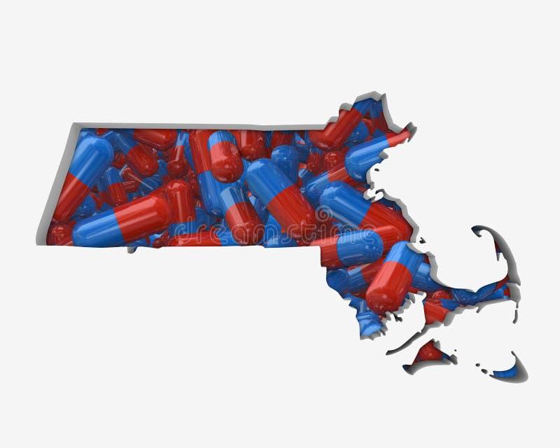 Översikt 3d Illust för försäkring för hälsovård för droger för Massachusetts MORpreventivpillerar vektor illustrationer