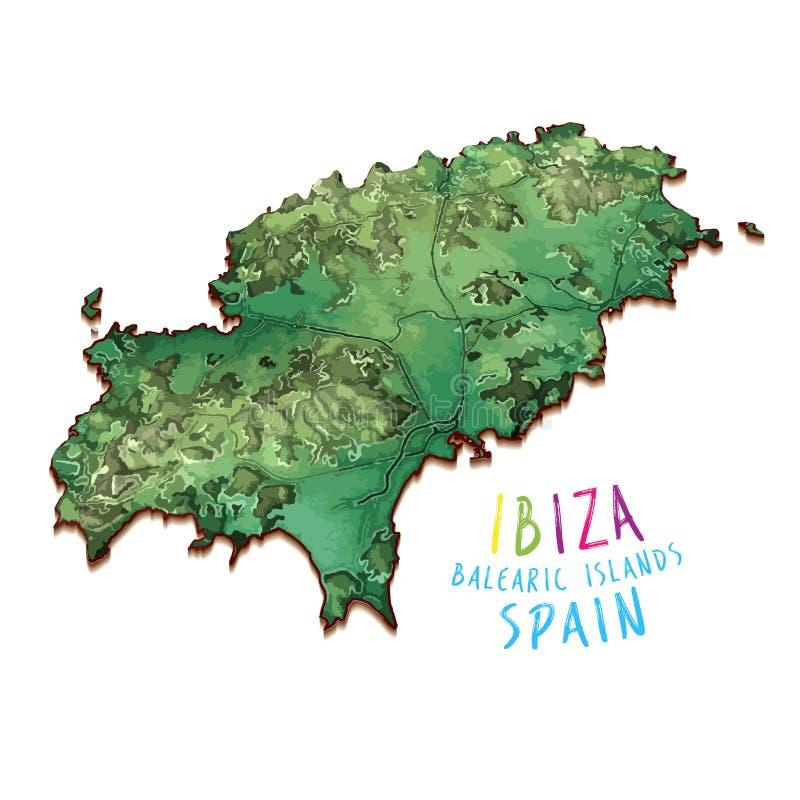 översikt för ö 3D av Ibiza stock illustrationer
