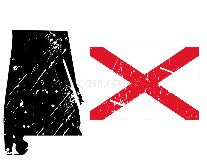 översikt för alabama flaggagrunge royaltyfri illustrationer