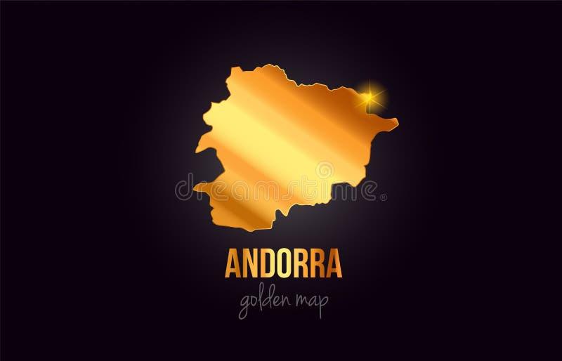 Översikt för Andorra landsgräns i guld- guld- metallfärgdesign stock illustrationer
