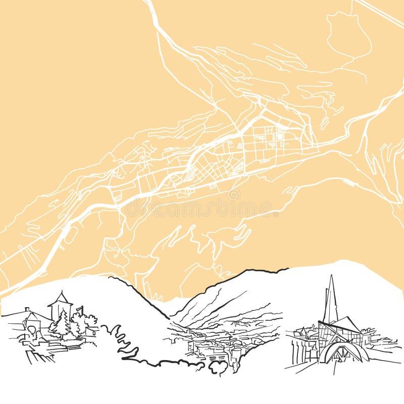 Översikt för Andorra laVella bakgrund stock illustrationer