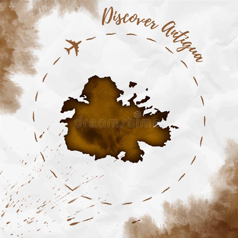 Översikt för Antiguavattenfärgö i sepiafärger royaltyfri illustrationer