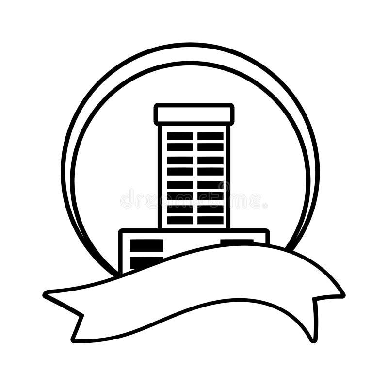 översikt för band för fastighetbyggnadsemblem stock illustrationer