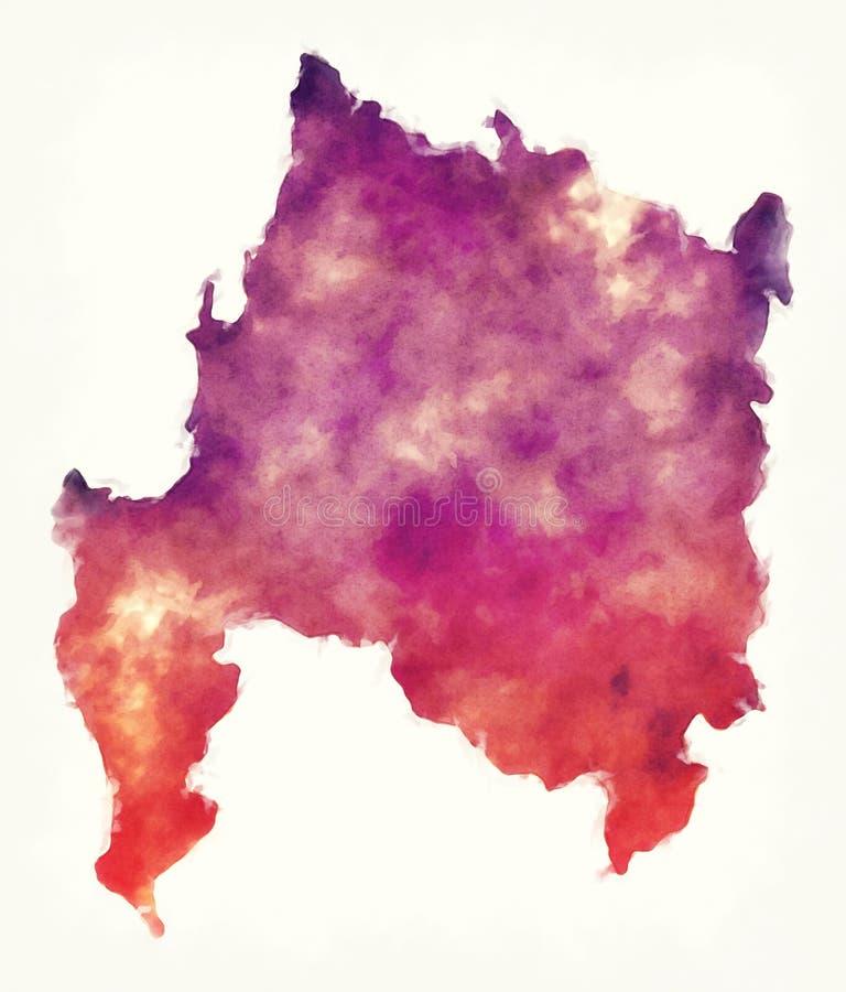 Översikt för Biobio regionvattenfärg av Chile royaltyfri illustrationer
