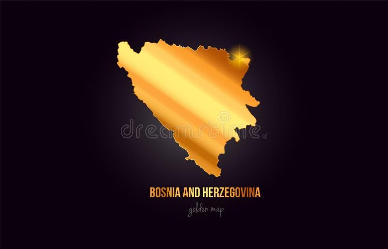 Översikt för Bosnien och Hercegovina landsgräns i guld- guld- vektor illustrationer