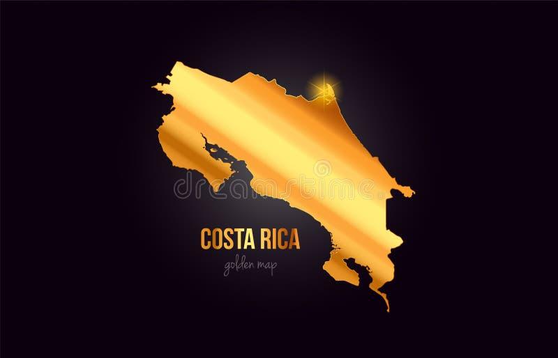 Översikt för Costa Rica landsgräns i guld- guld- metallfärgdesign royaltyfri illustrationer