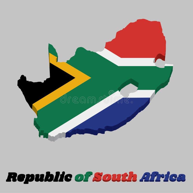 översikt för översikt 3d och flagga av Sydafrika, ett horisontal av rött och blått med en svart triangel, ett vitt och grönt hori royaltyfri illustrationer