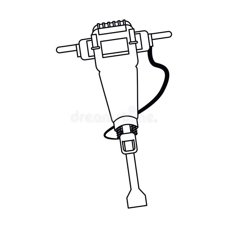Översikt för design för tryckluftsborrkonstruktionshjälpmedel vektor illustrationer