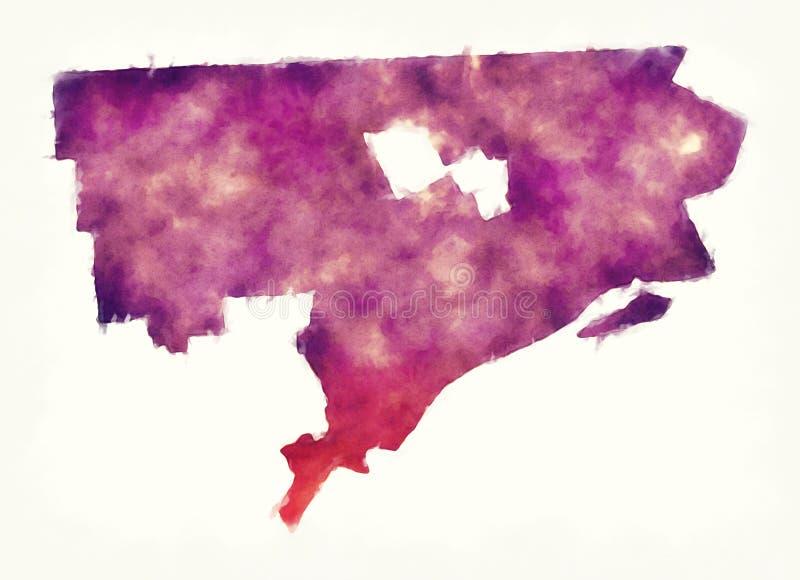 Översikt för Detroit Michigan stadsvattenfärg framme av en vit backgro royaltyfri illustrationer