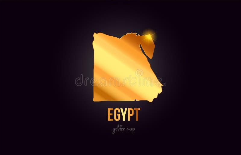 Översikt för Egypten landsgräns i guld- guld- metallfärgdesign stock illustrationer