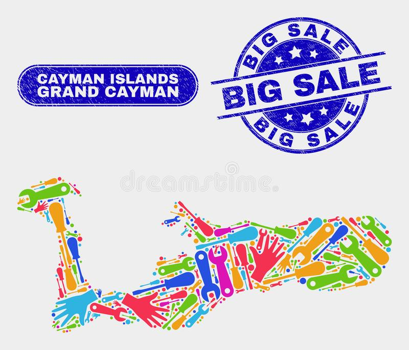 Översikt för enhetsGrand Cayman ö och skrapade stora Sale vattenstämplar royaltyfri illustrationer