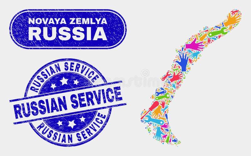 Översikt för enhetsNovaya Zemlya öar och att bedröva ryska serviceskyddsremsor vektor illustrationer