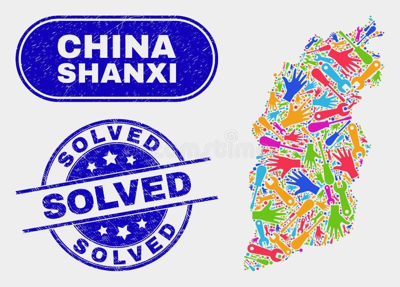 Översikt för enhetsShanxi landskap och skrapade lösta vattenstämplar royaltyfri illustrationer