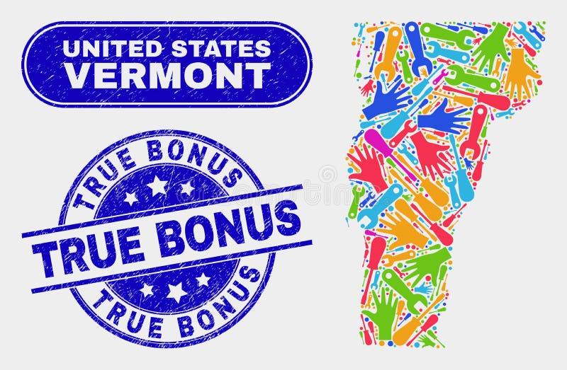 Översikt för enhetsVermont stat och skrapade riktiga bonusstämpelskyddsremsor stock illustrationer