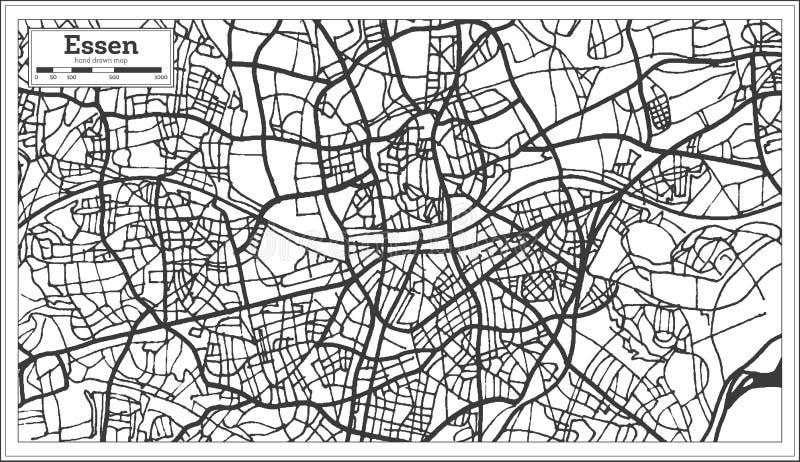 Översikt för Essen Tysklandstad i Retro stil skisserar kartlägger royaltyfri illustrationer