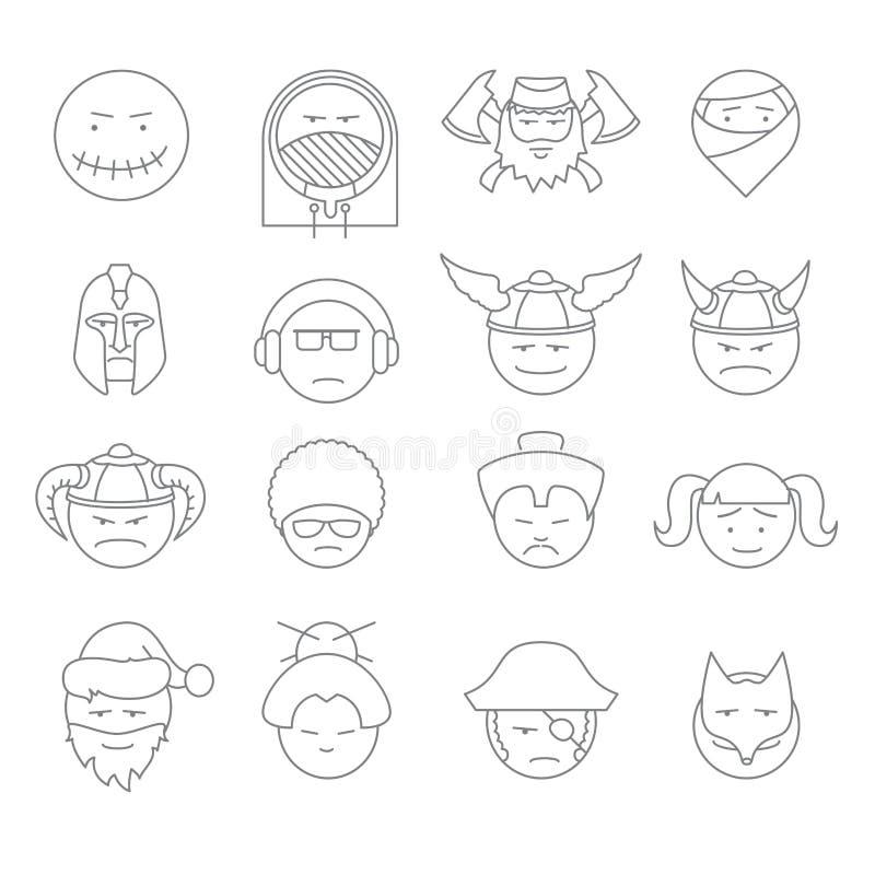 Översikt för framsidafolksymboler royaltyfri illustrationer