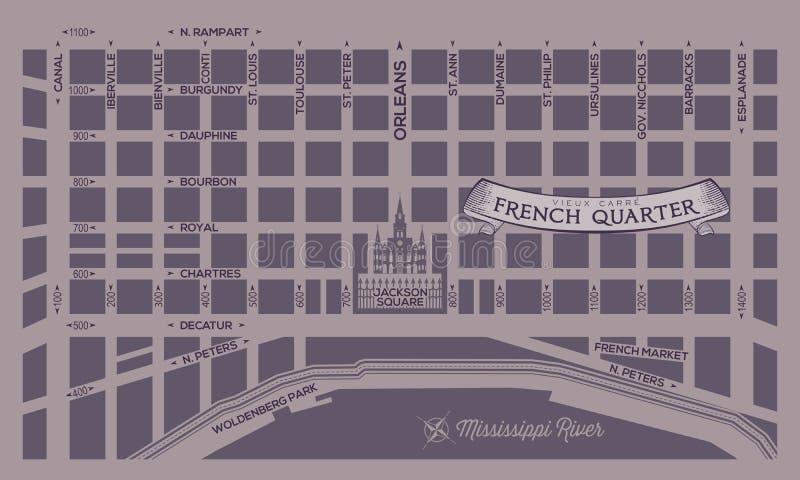 Översikt för fransk fjärdedel royaltyfri illustrationer