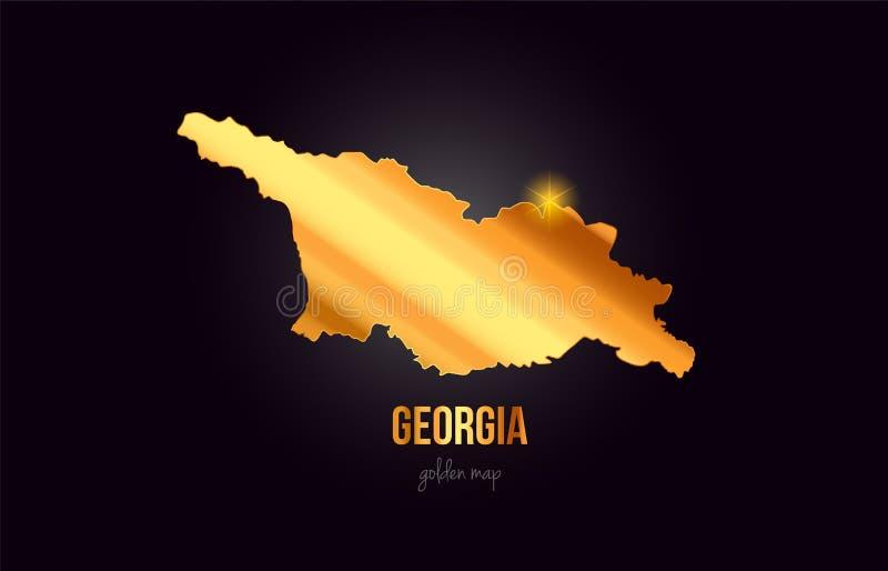 Översikt för Georgia landsgräns i guld- guld- metallfärgdesign royaltyfri illustrationer