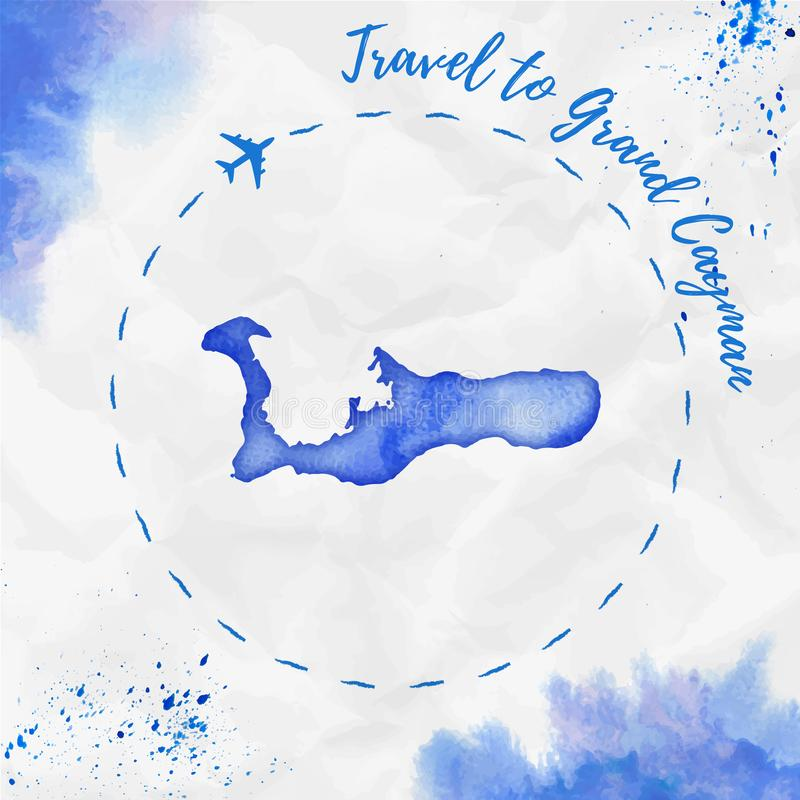 Översikt för Grand Cayman vattenfärgö i blåa färger royaltyfri illustrationer