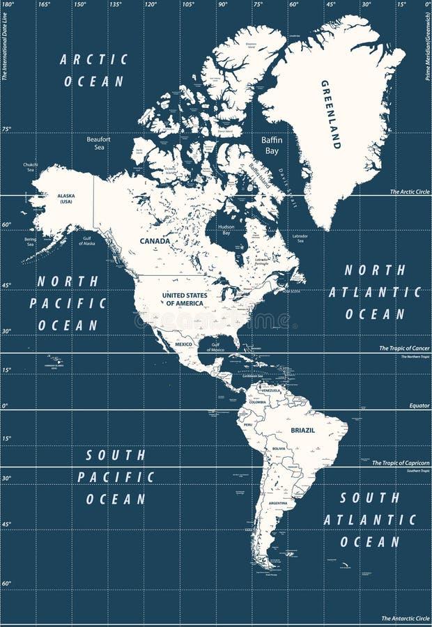 Översikt för hög detaljerad vektor för söder och Nordamerika politisk stock illustrationer