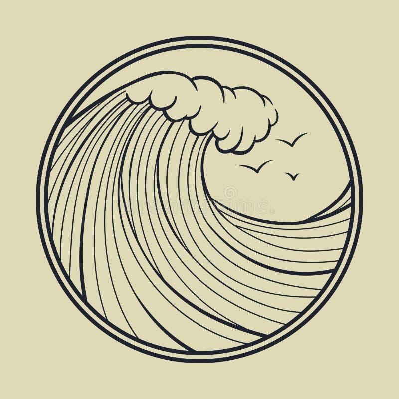 Översikt för havvåg med cirkelramen stock illustrationer