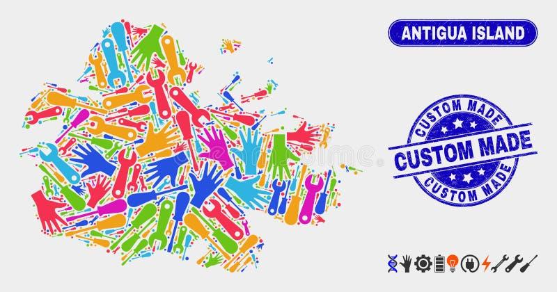 Översikt för hjälpmedelAntiguaö och att bedröva specialtillverkade skyddsremsor stock illustrationer