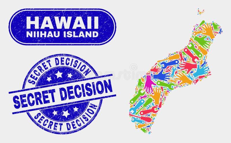 Översikt för hjälpmedelNiihau ö och hemliga beslutsvattenstämplar för Grunge royaltyfri illustrationer