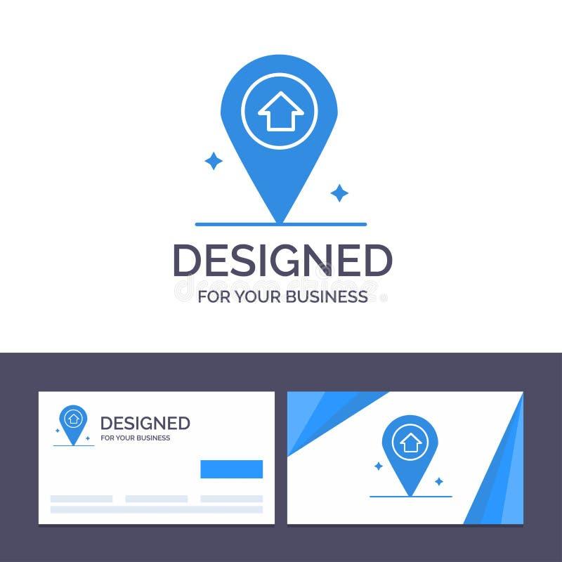 Översikt för idérik mall för affärskort och logo, navigering, husvektorillustration royaltyfri illustrationer