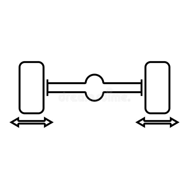 Översikt för illustration för färg för svart för symbol för stabilisator för hjul för dator för knipabilhjul royaltyfri illustrationer