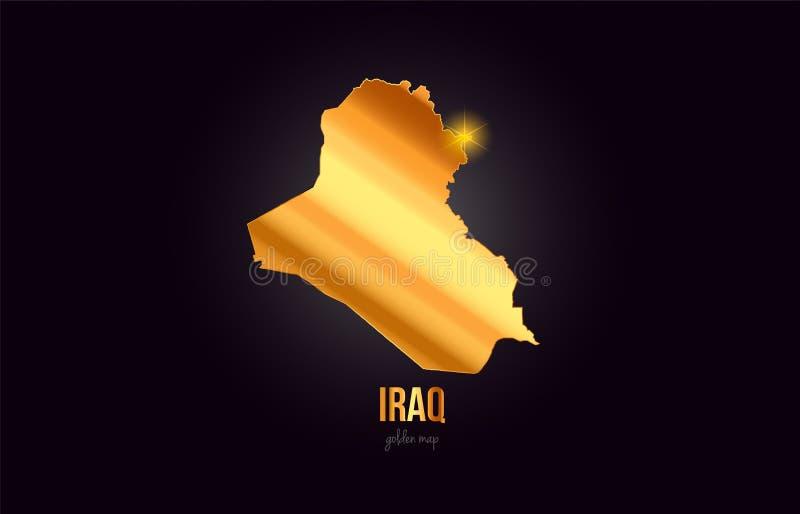 Översikt för Irak landsgräns i guld- guld- metallfärgdesign vektor illustrationer