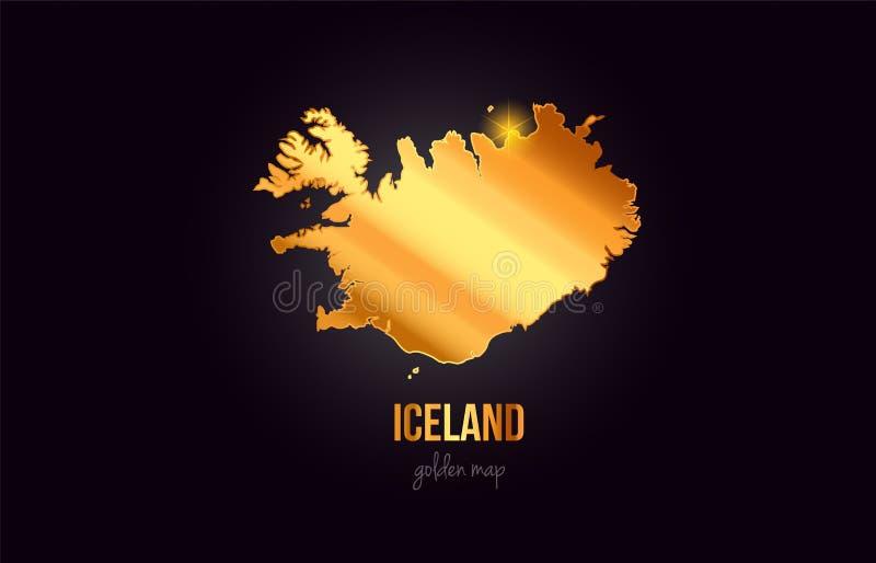 Översikt för Island landsgräns i guld- guld- metallfärgdesign vektor illustrationer