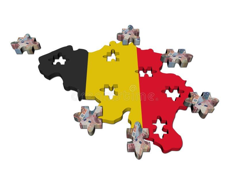 översikt för jigsaw för Belgien eurosflagga vektor illustrationer